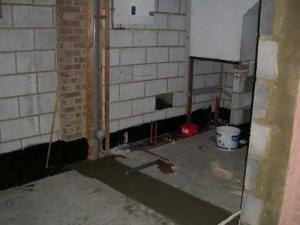 What was the back of the garage - starting to be 'plumbed'