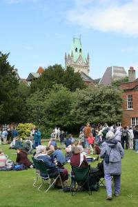 The tower of the Guildhall Winchester - pictured at our MakePovertyHistory rally 4th June 06!