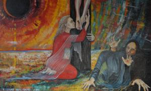 """Painting of the crucifixion by Kari Juhani Hintikka (Br Benedict of Alton Abbey) 'How beautiful on the mountains are the feet of those who bring good news."""" Isaiah 52:7"""