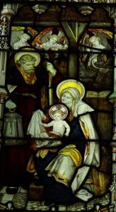 Nativity detail from altar window, All Saints Church, Cuddesdon