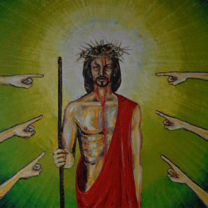 """Painting from a Crucifixion sequence by Kari Juhani Hintikka (recently of Alton Abbey) """"I have offered my back to those who struck me, my cheeks to those who plucked my beard; I have not turned my face away from insult and spitting. Lord Yahweh comes to my help, this is why insult has not touched me, this is why I have set my face like flint and know that I shall not be put to shame."""" Is 50:6,7"""