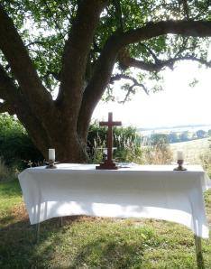Eucharistic table after alternative worship celebration at Oxford Ministry Course Summer School 2013