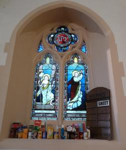 Harvest gifts given before the service had been placed in all the Nave windows at St. Peter's Mill End