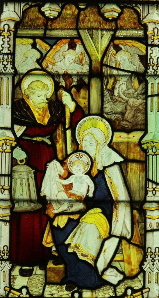 Detail from a stained glass window at All Saints, Cuddesdon, Oxfordshire