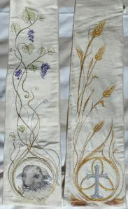 My ordination stole,  made from my wedding dress, with a design by myself and Deborah Ireland who brought it to life.