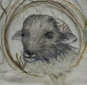 Detail of the rams-head on my ordination stole - interpreted by Deborah Ireland from a photograph I took of a Swaledale lamb on a rain-soaked Swaledale last summer!