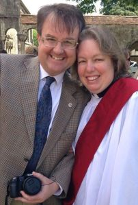 The Rev'd. Mrs. and her Mr. on Ordination Day (photograph by our friend Stephen Usher)