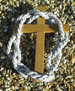 Tork roll rope, on which had been written our prayers for the church, made in St. Peter's Yateley, January 2007.