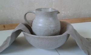 The jug, bowl and towel that St. Peter's Yateley gave me as a leaving gift as a symbol of servanthood.