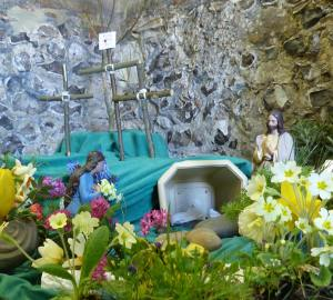 Easter garden at St. Mary's Old Basing and Lychpit 2015