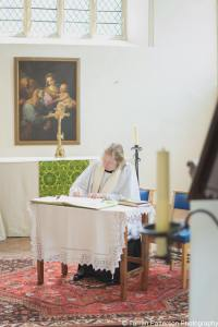 Registering my first wedding in the Bolton Chapel of St. Mary's Old Basing. Photograph: Tarran Patterson